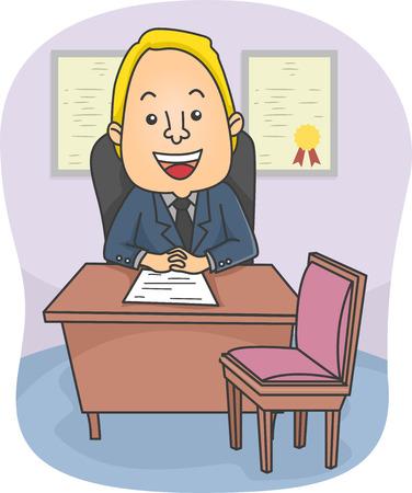 Ilustración de una masculina cómoda Consejero sentado en su oficina
