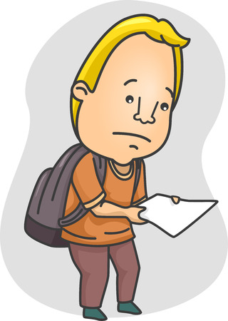 bad news: Illustration of a Man Looking Sad While Holding a Piece of Paper