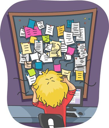sticky notes: Illustration of a Stressed Out Man Looking at  Mountain of Sticky Notes Stock Photo
