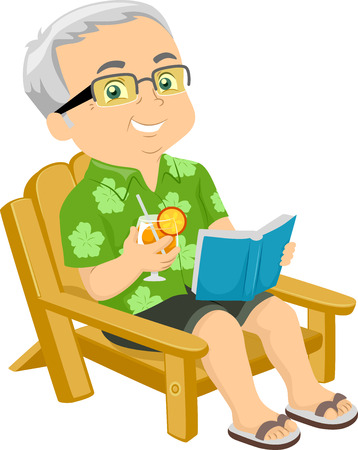 granddad: Illustration of a Senior Citizen Sitting on a Beach Chair While Reading a Book