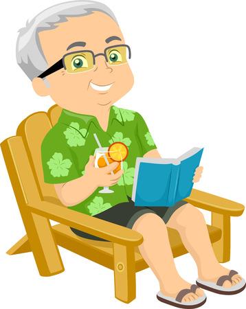 cadeira: Ilustração de um idoso que senta-se em uma cadeira de praia enquanto lê um livro Banco de Imagens