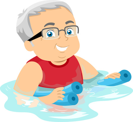 citizens: Illustration of a Senior Citizen Hanging on to Floaters While Swimming Stock Photo