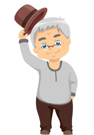 tipping: Illustration of a Senior Citizen Tipping His Hat Stock Photo