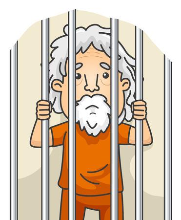 frase: Ilustración de un jubilado Aún cumpliendo su condena en la cárcel