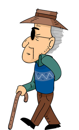 mature men: Illustration of a Senior Citizen Walking with the Help of a Cane