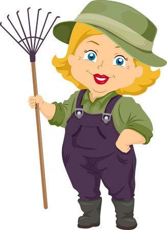 Illustration of a Senior Citizen Holding a Gardening Rake