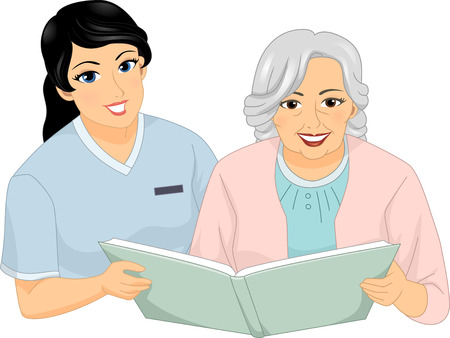 nurse home: Illustration of a Nurse and a Female Senior Citizen Reading a Book Together