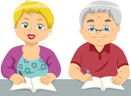 senior citizen: Illustration of a Pair of Elderly Students Writing on Their Notebooks Stock Photo