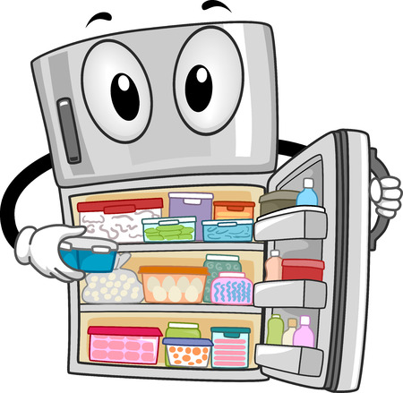 fridge: Mascot Illustration of a Fully-Stocked Refrigerator Showing Its Contents