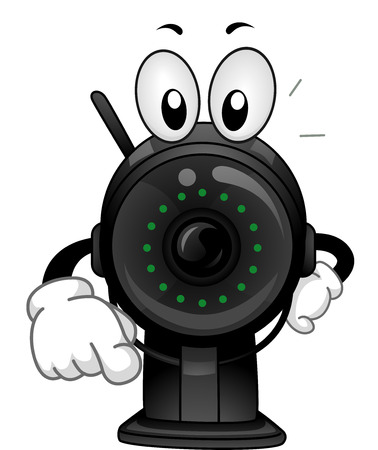 caught: Mascot Illustration of a Surveillance Camera Pointing His Finger Towards the Screen Stock Photo