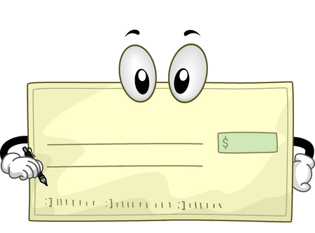 cheque en blanco: Ilustración de la mascota de un cheque en blanco que sostiene una pluma Foto de archivo