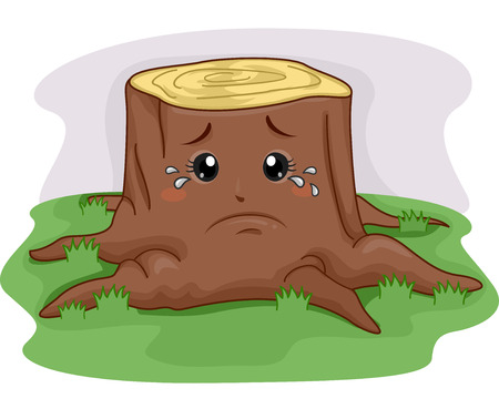 Mascot Illustration of a Tree Stump Crying After Being Cut