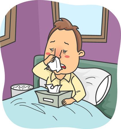 rhinitis: Illustration of a Man Stuck in Bed Due to a Severe Case of Colds