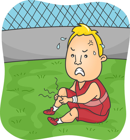 cramps: Illustration of a Male Athlete Suffering from Severe Leg Cramps Stock Photo