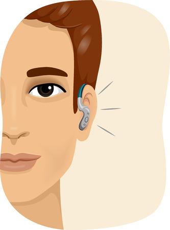 Illustration of a Smiling Man Wearing a Hearing Aid