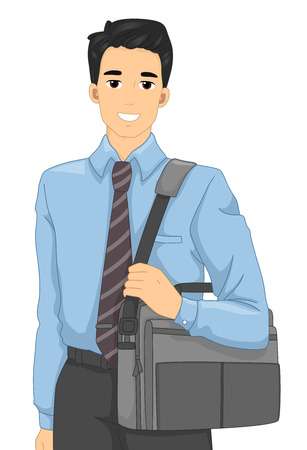 attire: Illustration of a Man in an Office Attire Carrying a Laptop Bag Stock Photo