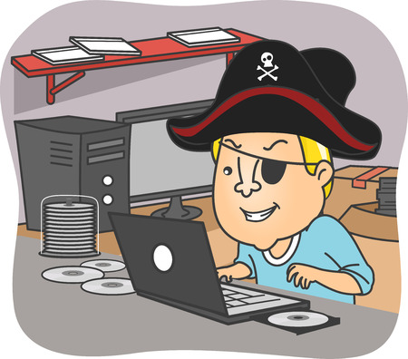 infringement: Illustration of a Man Wearing a Pirate Hat Illegal Downloading Files from the Internet Stock Photo