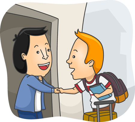 Illustration of a Man Welcoming a Homestay Student at His Home Banque d'images