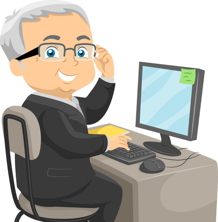 man working on computer: Illustration of a Senior Citizen Dressed in a Business Suit Sitting in Front of a Computer