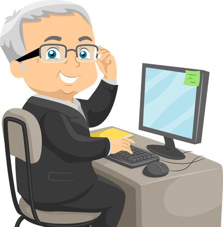 Ilustración de un anciano vestido con un traje de negocios sentado delante de un ordenador