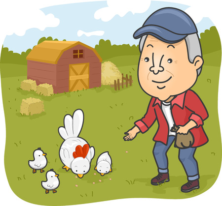 citizen: Illustration of a Senior Citizen Feeding Chickens in a Farm Stock Photo