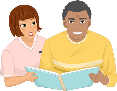 nurse home: Illustration of a Female Nurse Assisting a Male Senior Citizen Looking Through an Album Stock Photo