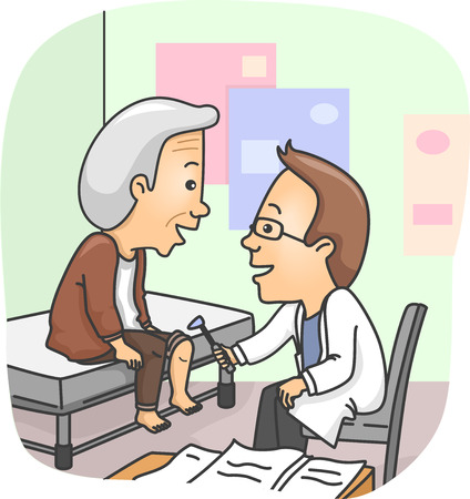 physical exam: Illustration of a Doctor Checking the Knees of a Senior Citizen