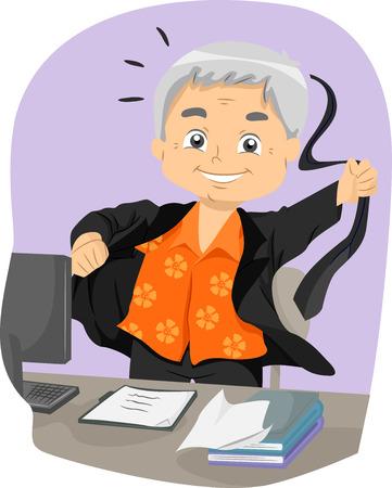 citizen: Illustration of a Senior Citizen Taking Off His Business Suit