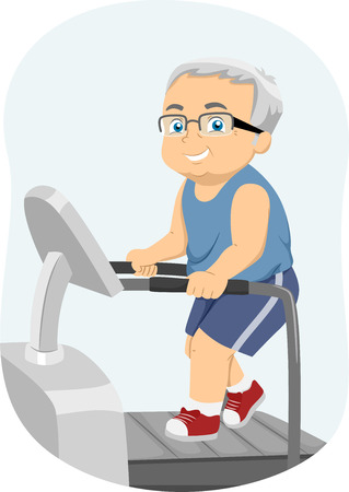 man illustration: Illustration of a Senior Citizen Running on a Treadmill
