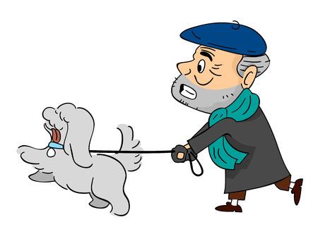 cartoon puppy: Illustration of a Senior Citizen Walking His Pet Dog