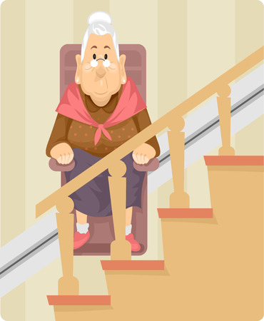elderly people: Illustration of a Female Senior Citizen Using a Wheelchair Lift to Climb Up the Stairs