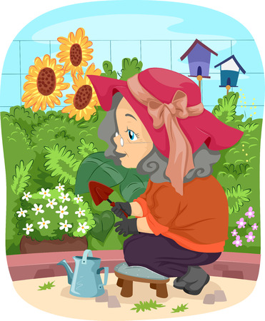 citizen: Illustration of a Senior Citizen Tending to Her Garden