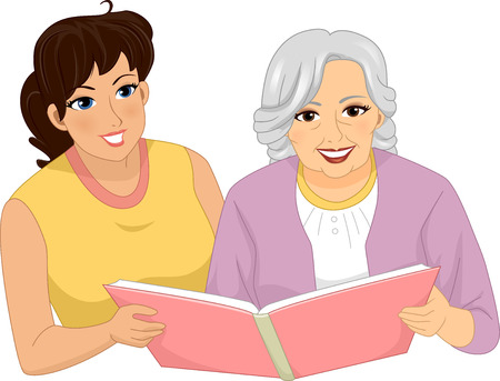 reminisce: Illustration of a Woman Looking Through an Album with a Female Senior Citizen