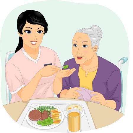 식사를하는 노인을 돕는 간호사의 그림