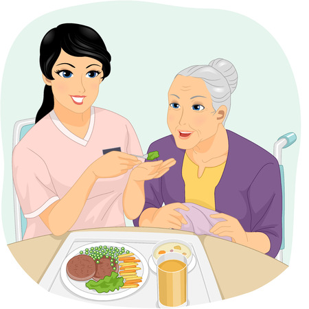 Illustration of a Nurse Helping a Senior Citizen to Eat Stock Photo