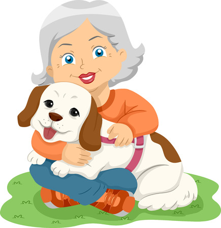 pooch: Illustration of a Female Senior Citizen Hugging Her Pet Dog Stock Photo