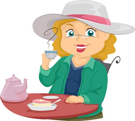 senior citizen: Illustration of a Female Senior Citizen Drinking Tea Stock Photo