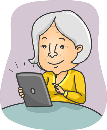 abuela: Ilustración de una Mujer Senior Citizen navegando por el contenido de su Tablet Foto de archivo