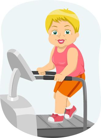 citizen: Illustration of a Female Senior Citizen Running on a Treadmill