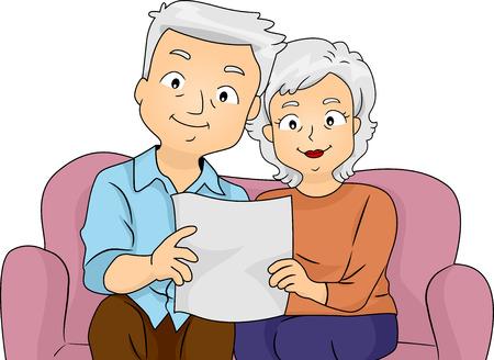 Ilustración de una pareja senior Lectura Su Plan de Jubilación Juntos