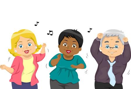 Illustration einer Gruppe von Senioren tanzen zu einem Tune