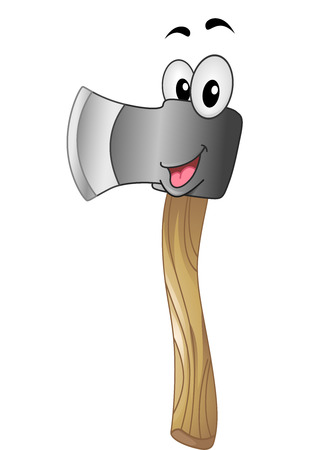 cartoonize: Mascot Illustration of an Axe Flashing a Big Smile Stock Photo
