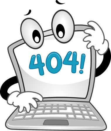 malfunction: Mascot Illustration of a Confused Laptop Showing an Error 404 Sign