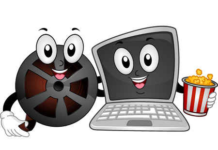 netbook: Mascot Illustration of a Film Reel and a Laptop Holding a Popcorn Bucket