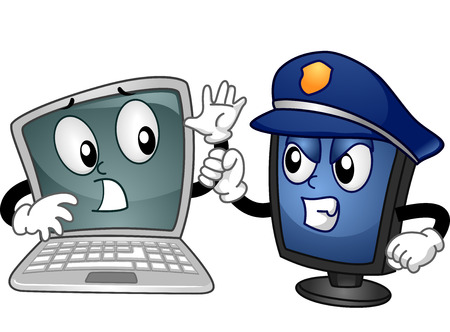 laptop mascot: Mascot Illustration of a Computer Monitor Dressed as a Cop Apprehending a Laptop Stock Photo