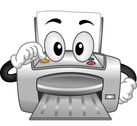 laser printer: Mascot Illustration of a Printer Turning Itself On