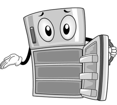Mascot Illustration of an Empty Refrigerator Showing its Insides Stock Photo