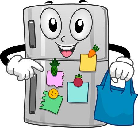 스티커 메모로 가득 찬 냉장고의 마스코트 그림 스톡 콘텐츠