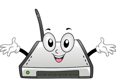 cartoonize: Mascot Illustration of a Wi-fi Router with its Arms Spread Wide Stock Photo