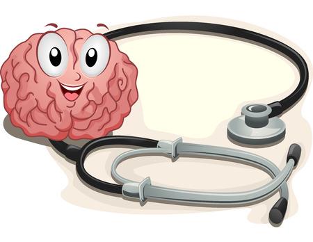 neurologist: Mascot Illustration of a Bran Sitting Beside a Stethoscope